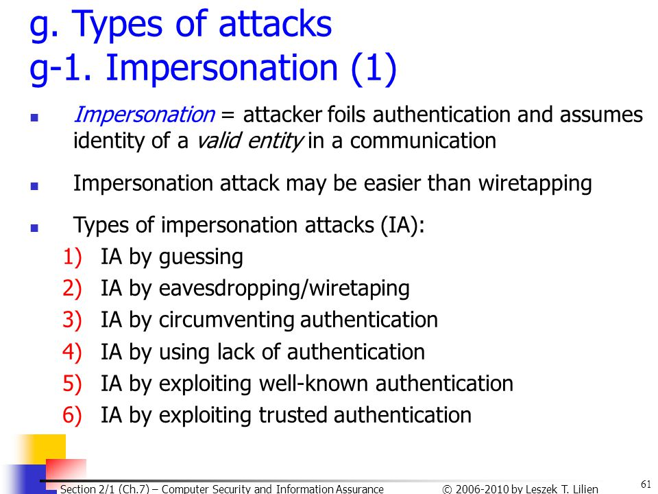 g. Types of attacks g-1. Impersonation (1)