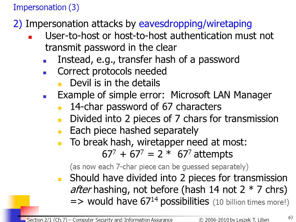 2) Impersonation attacks by eavesdropping/wiretaping