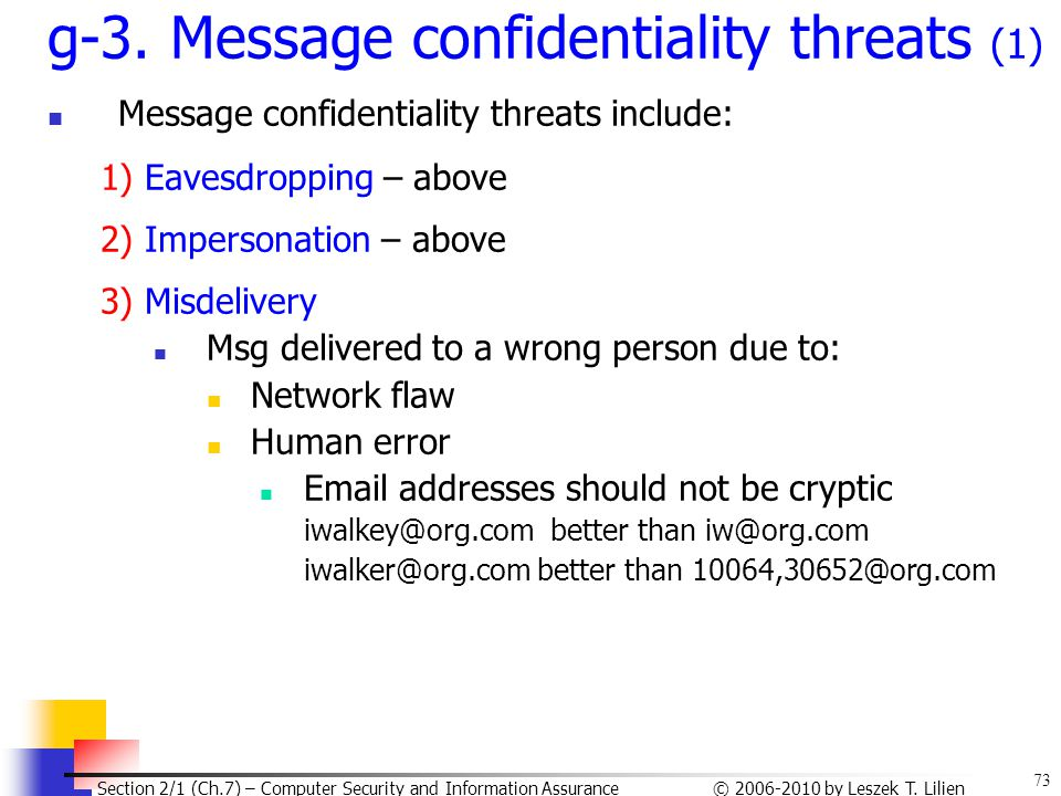 g-3. Message confidentiality threats (1)