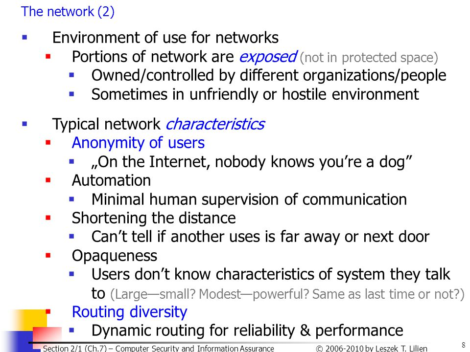 Environment of use for networks