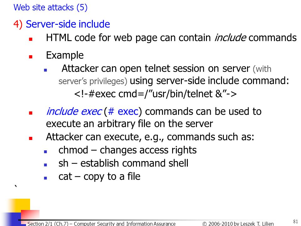 HTML code for web page can contain include commands Example