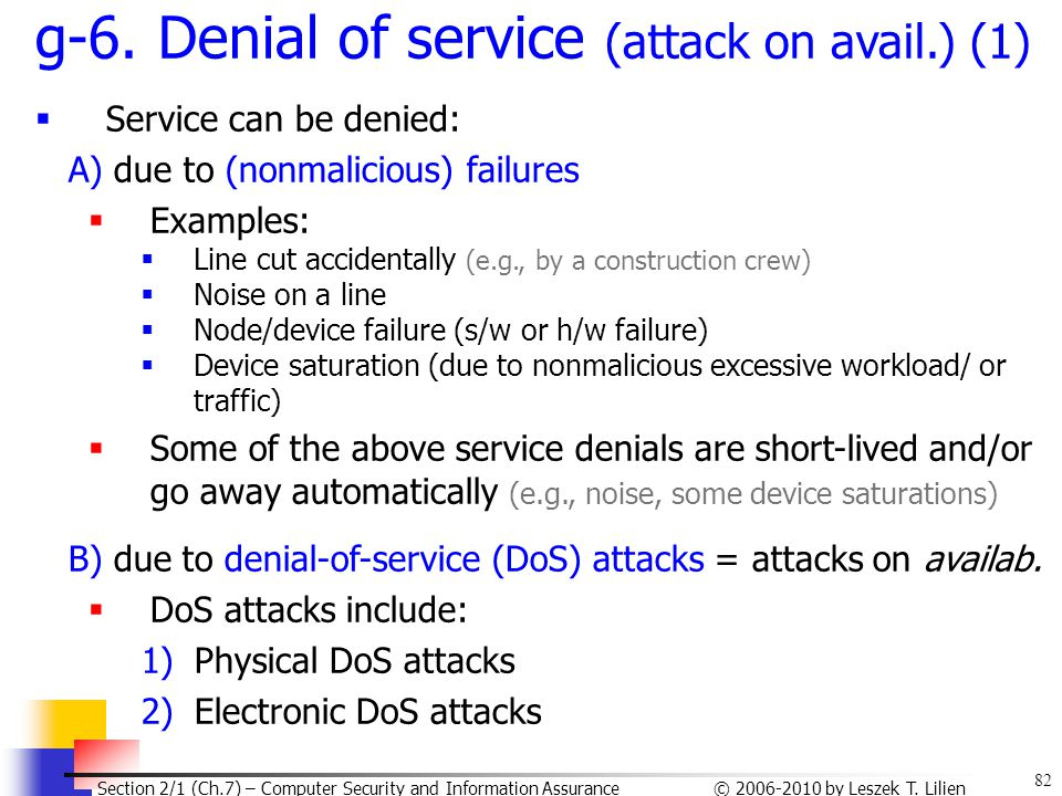 g-6. Denial of service (attack on avail.) (1)