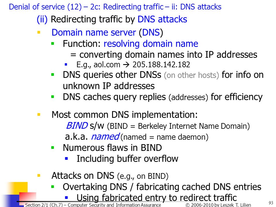(ii) Redirecting traffic by DNS attacks Domain name server (DNS)