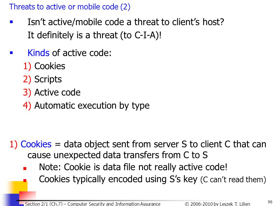 Isn't active/mobile code a threat to client's host