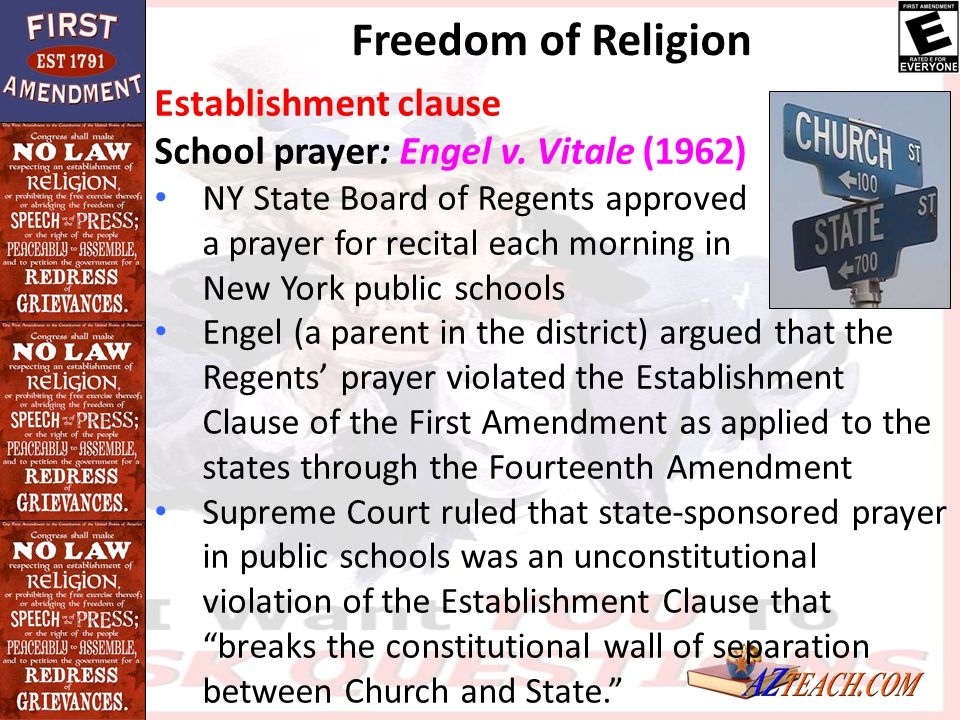 Freedom of Religion Establishment clause