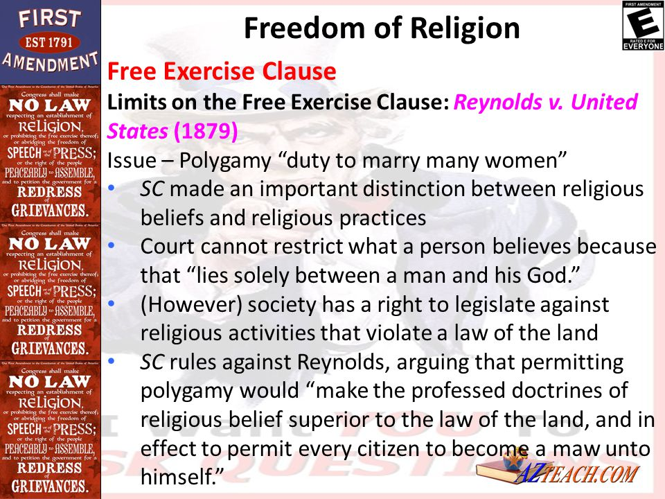 Freedom of Religion Free Exercise Clause