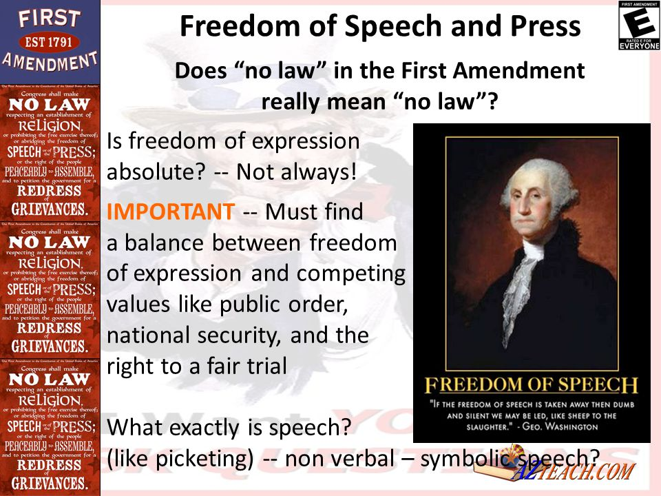 Freedom of Speech and Press Does no law in the First Amendment
