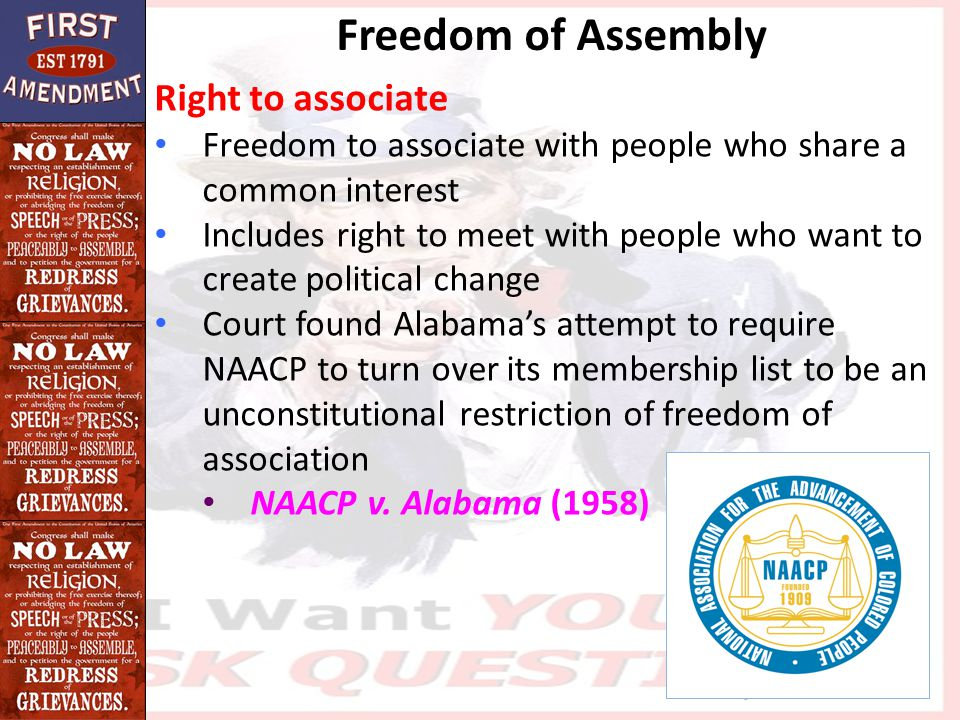 Freedom of Assembly Right to associate