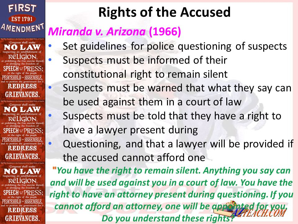 rights of the accused If we cannot secure all our rights, let us secure what we can  in all criminal prosecutions, the accused shall enjoy the right to a speedy and public trial,.