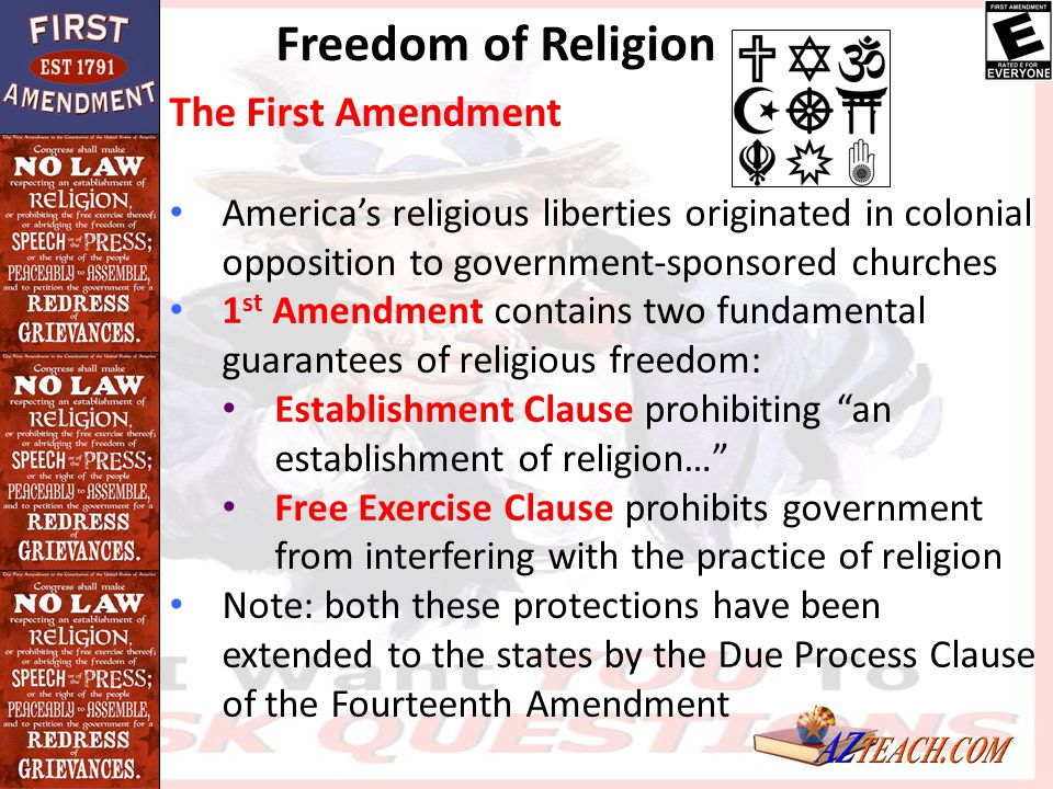 Freedom of Religion The First Amendment