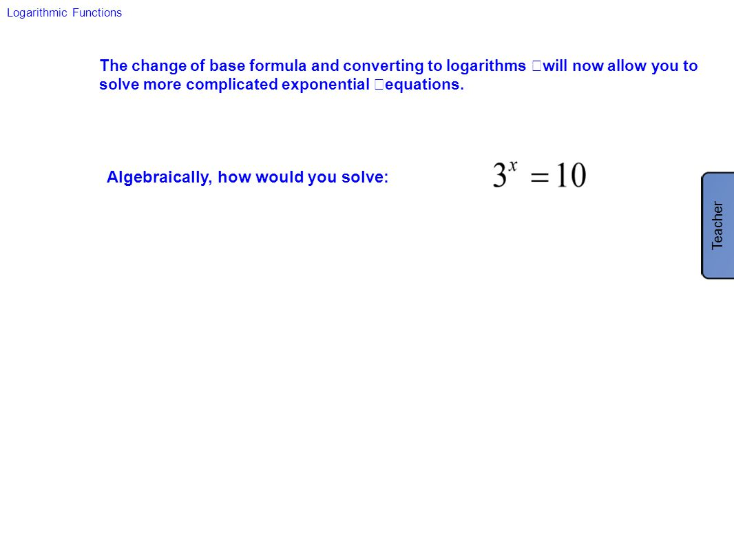 Algebraically, how would you solve: