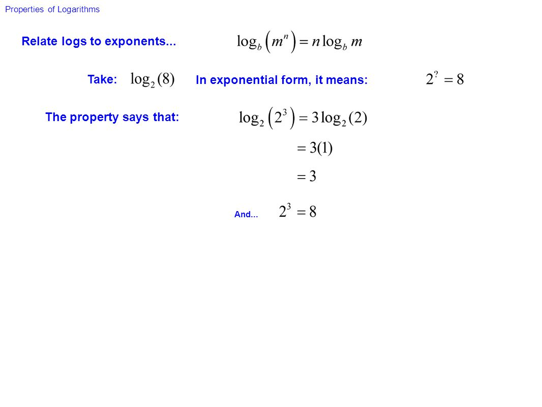 Relate logs to exponents...