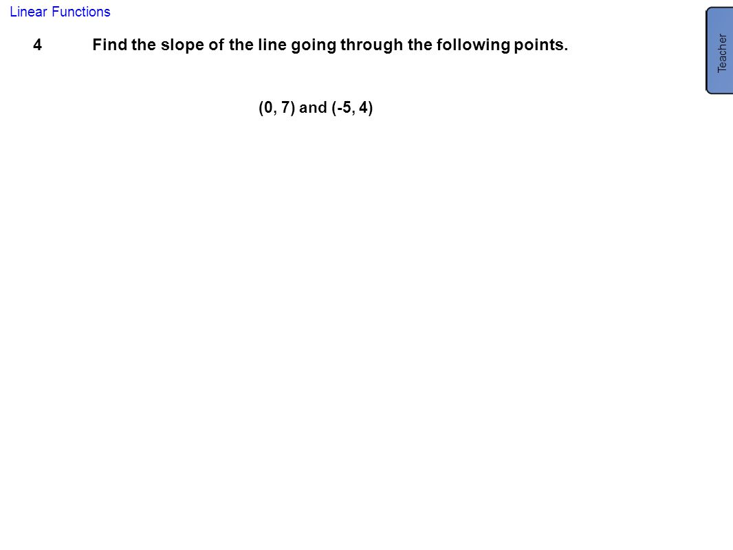 Find the slope of the line going through the following points.