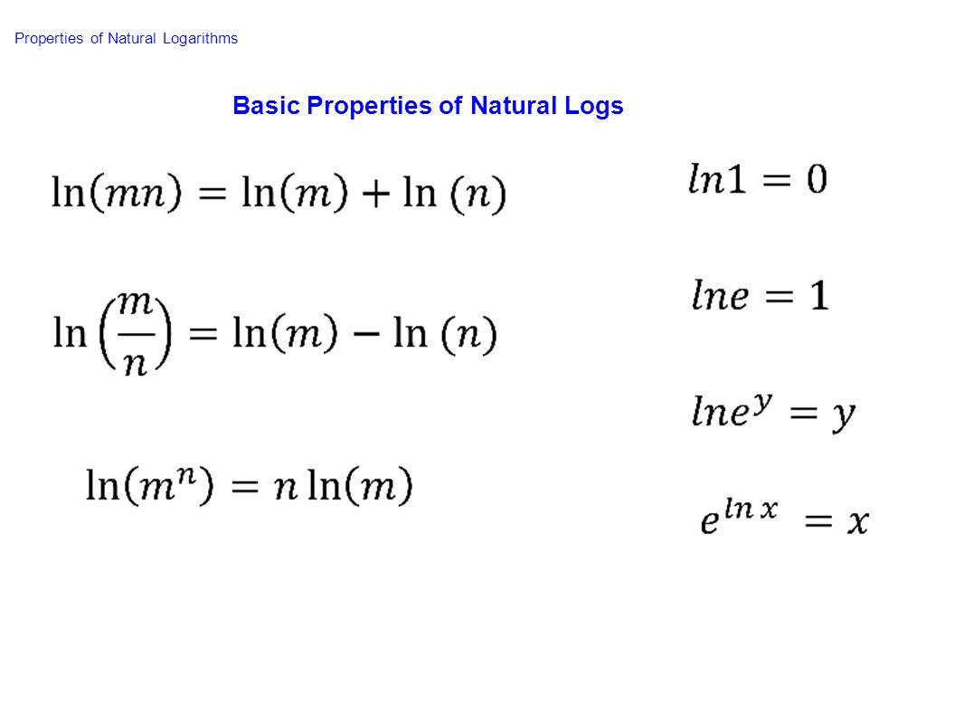 Basic Properties of Natural Logs