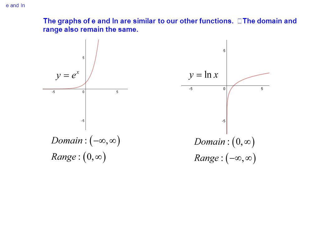 e and ln The graphs of e and ln are similar to our other functions.