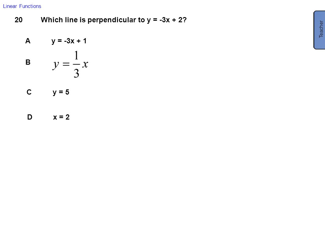 Which line is perpendicular to y = -3x + 2