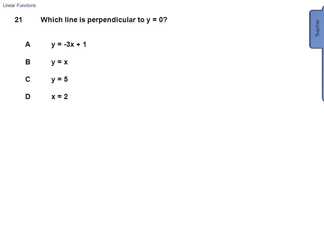 Which line is perpendicular to y = 0