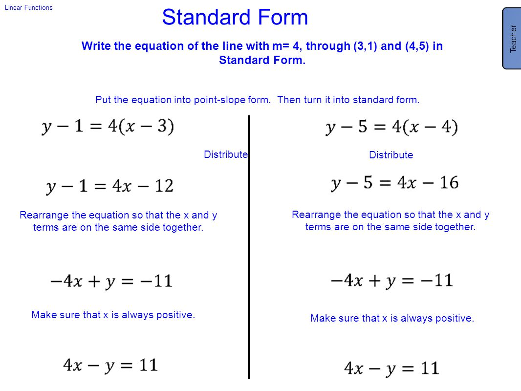 Teacher 4x - y = 11. Have a class discussion about the usefulness of this form and how easy this was to do.