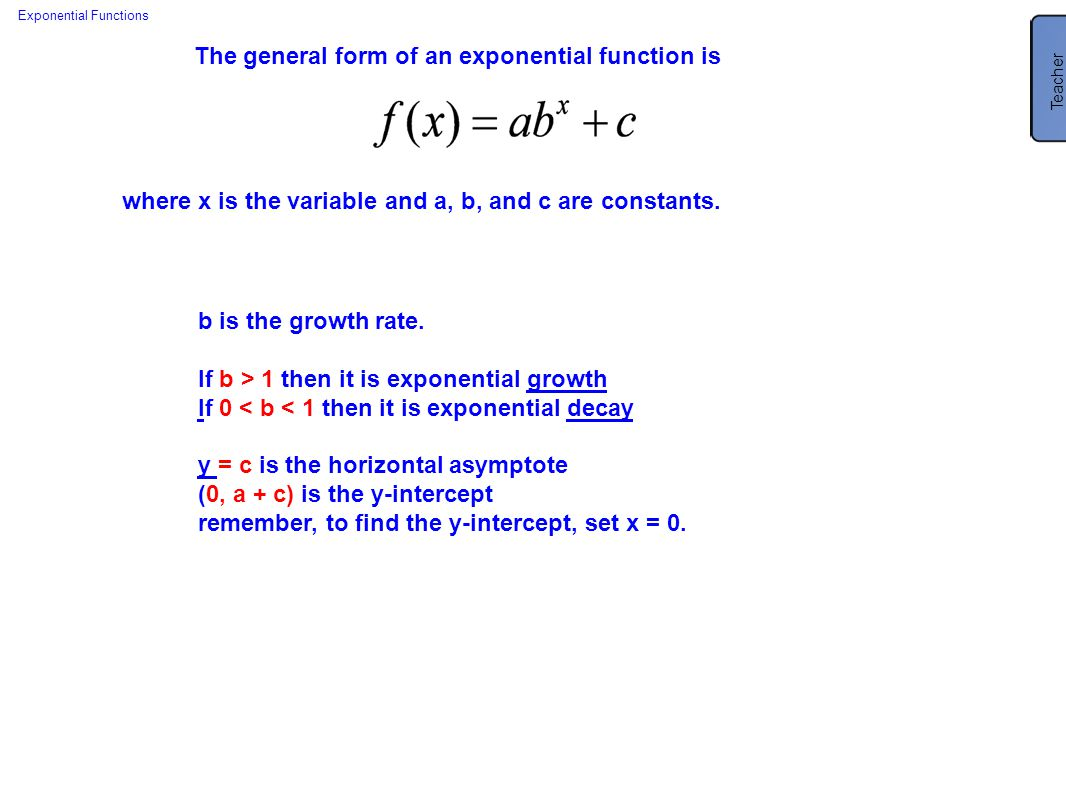 New jersey center for teaching and learning ppt download the general form of an exponential function is falaconquin