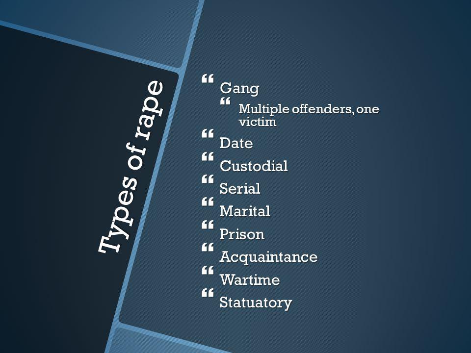 Types of rape Gang Date Custodial Serial Marital Prison Acquaintance