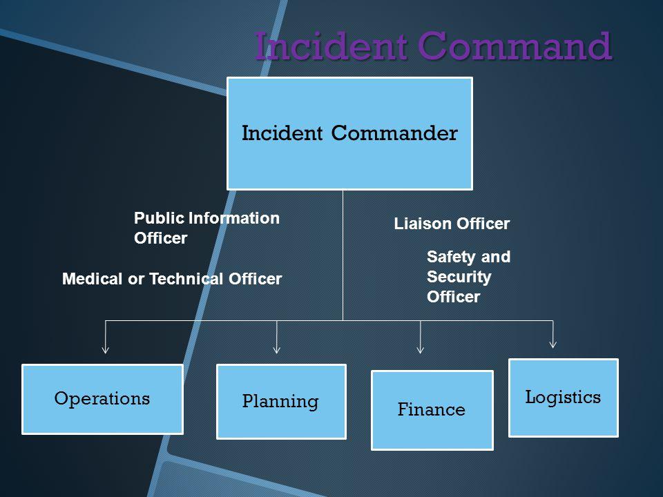 Incident Command Incident Commander Logistics Operations Planning
