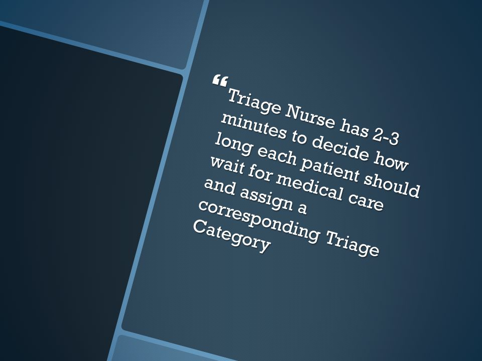 Triage Nurse has 2-3 minutes to decide how long each patient should wait for medical care and assign a corresponding Triage Category