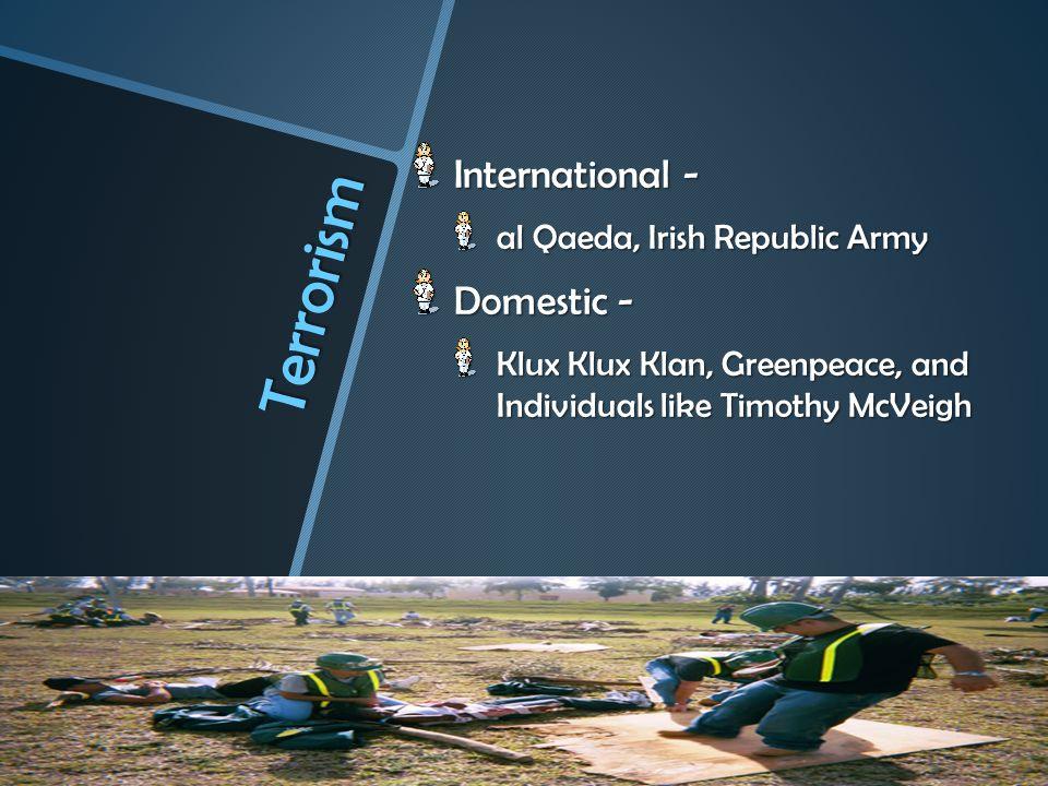 Terrorism International - Domestic - al Qaeda, Irish Republic Army