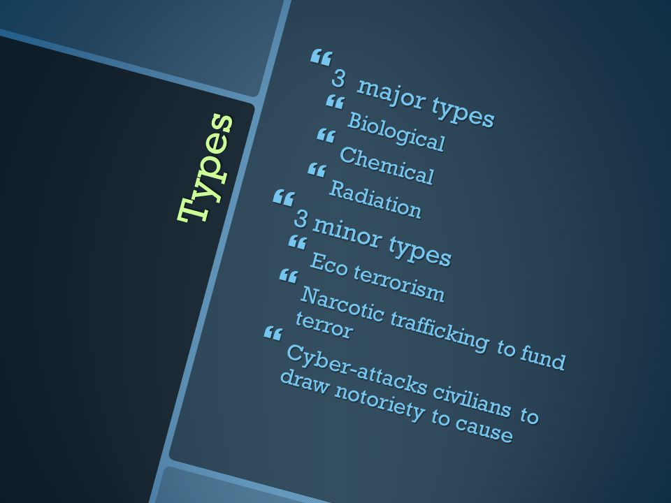 Types 3 major types 3 minor types Biological Chemical Radiation