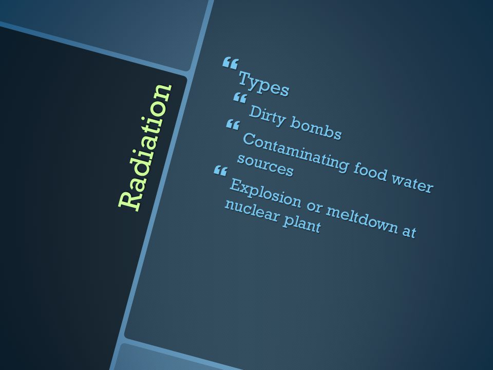 Radiation Types Dirty bombs Contaminating food water sources