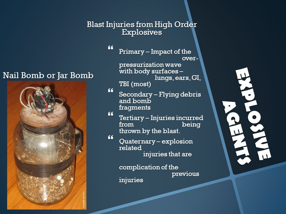 Blast Injuries from High Order Explosives