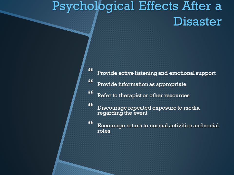 Psychological Effects After a Disaster