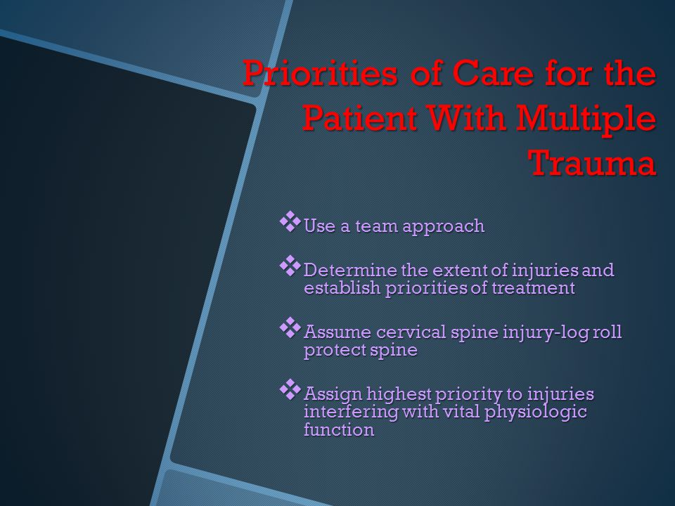 Priorities of Care for the Patient With Multiple Trauma