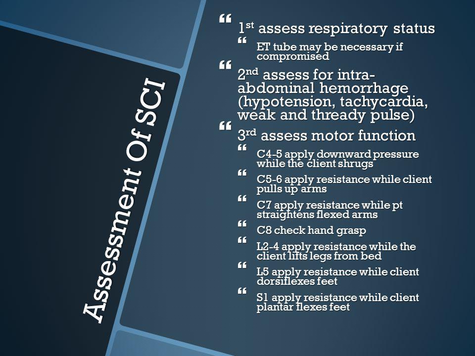 Assessment Of SCI 1st assess respiratory status