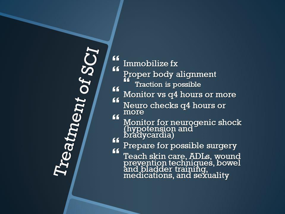 Treatment of SCI Immobilize fx Proper body alignment