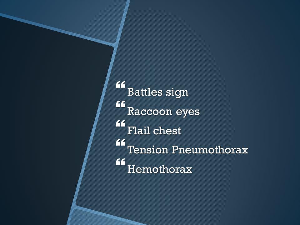 Battles sign Raccoon eyes Flail chest Tension Pneumothorax Hemothorax