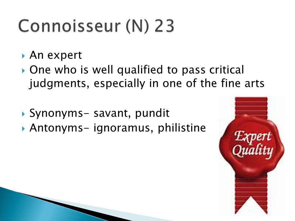 Connoisseur (N) 23 An expert