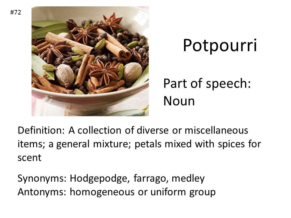 Potpourri Part of speech: Noun