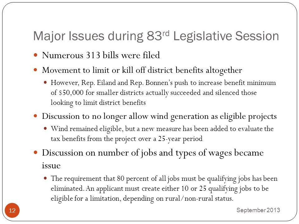 Major Issues during 83rd Legislative Session
