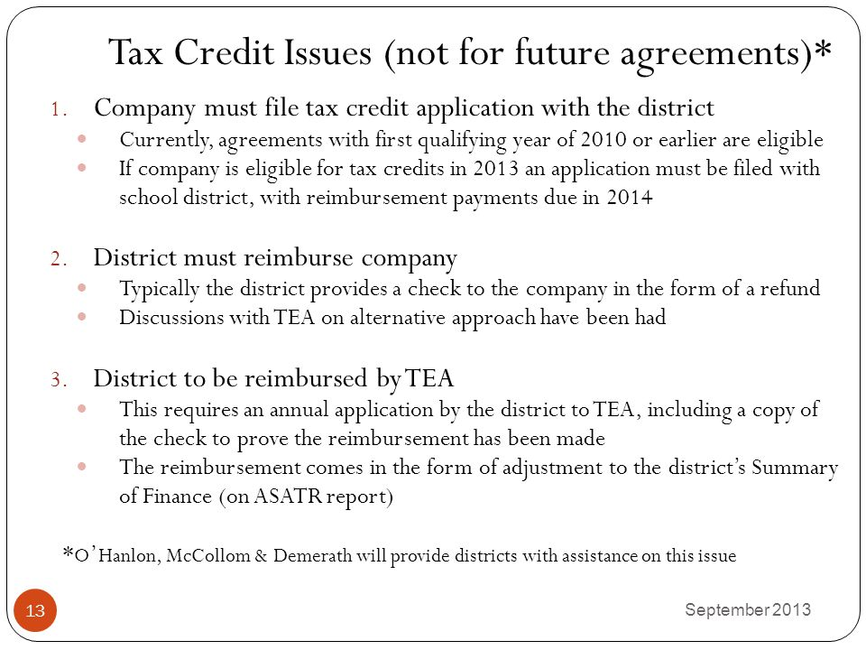 Tax Credit Issues (not for future agreements)*