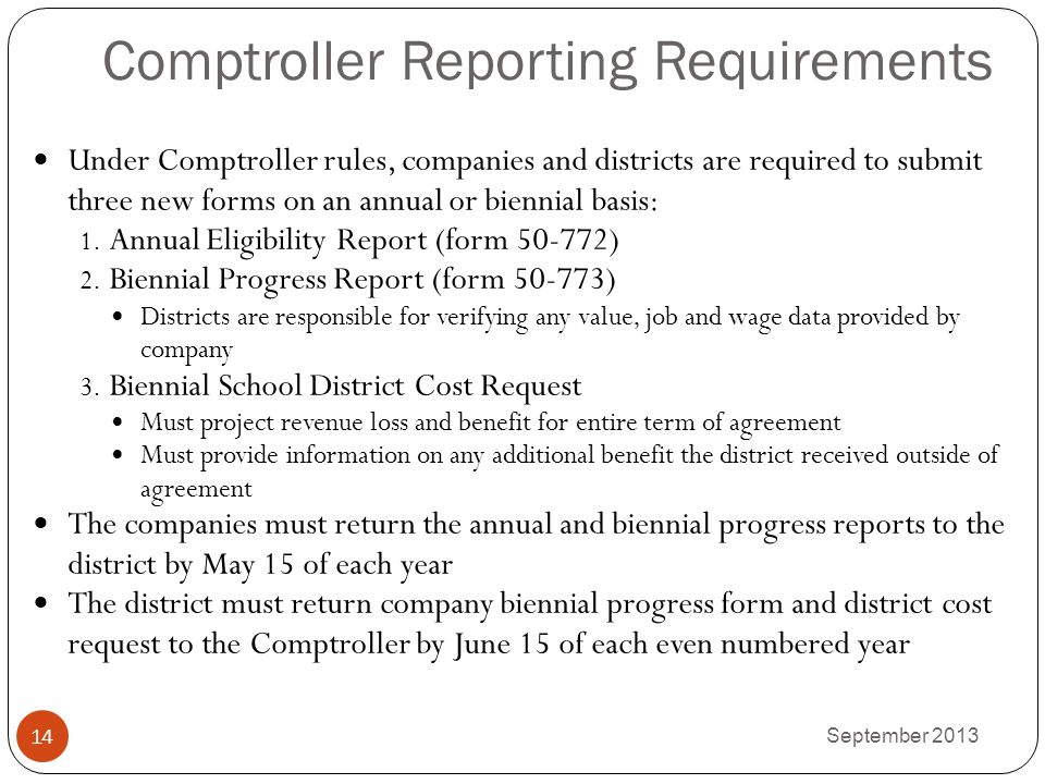 Comptroller Reporting Requirements