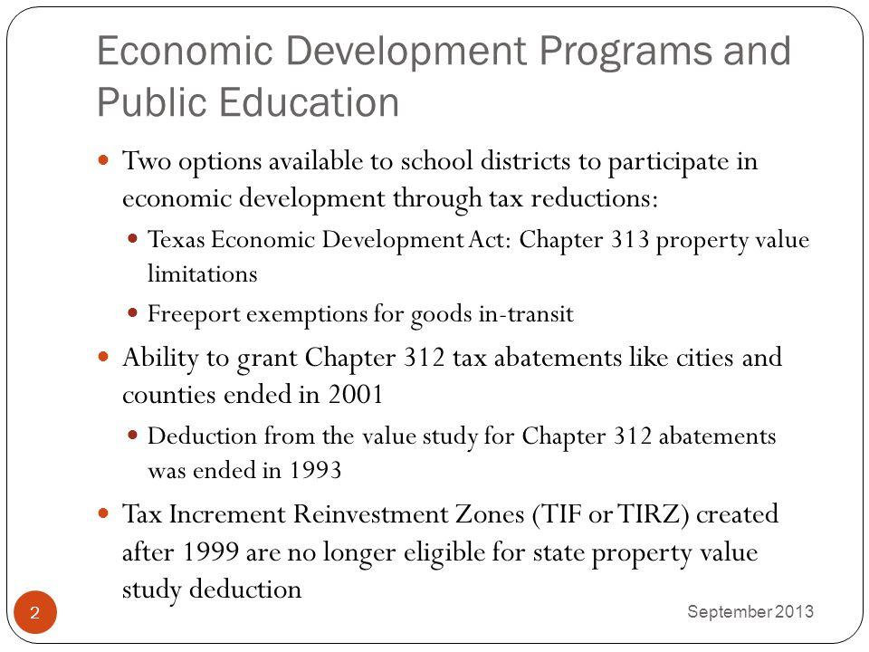 Economic Development Programs and Public Education