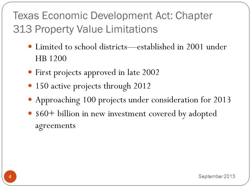 Texas Economic Development Act: Chapter 313 Property Value Limitations