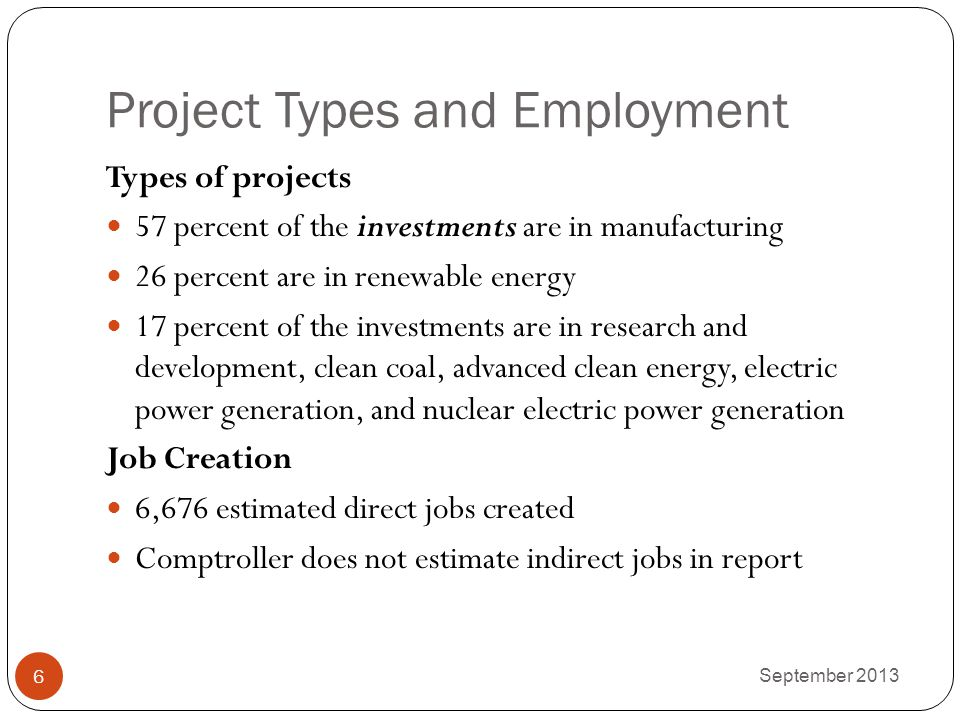 Project Types and Employment