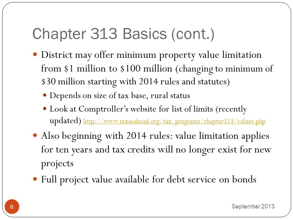 Chapter 313 Basics (cont.)
