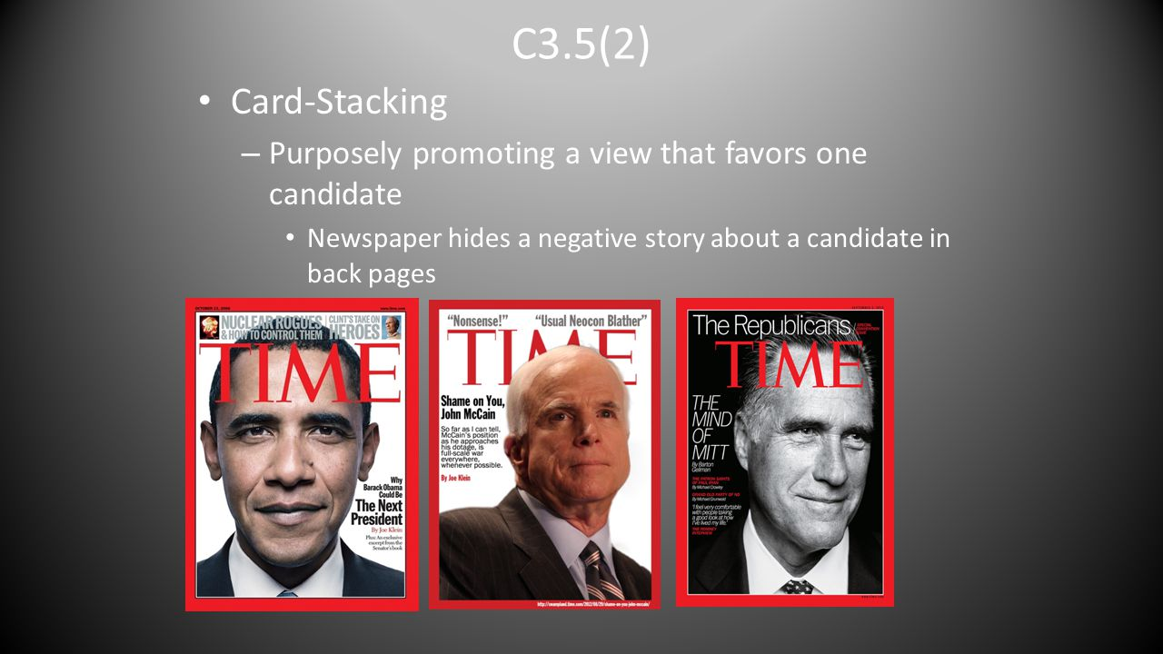 C3.5(2) Card-Stacking. Purposely promoting a view that favors one candidate.