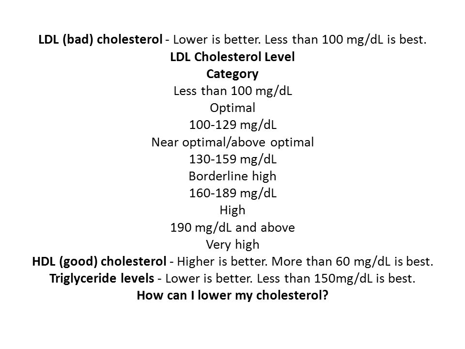 LDL (bad) cholesterol - Lower is better. Less than 100 mg/dL is best