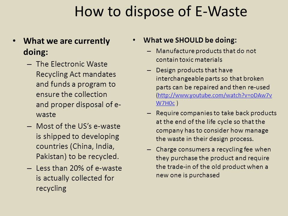 How to dispose of E-Waste