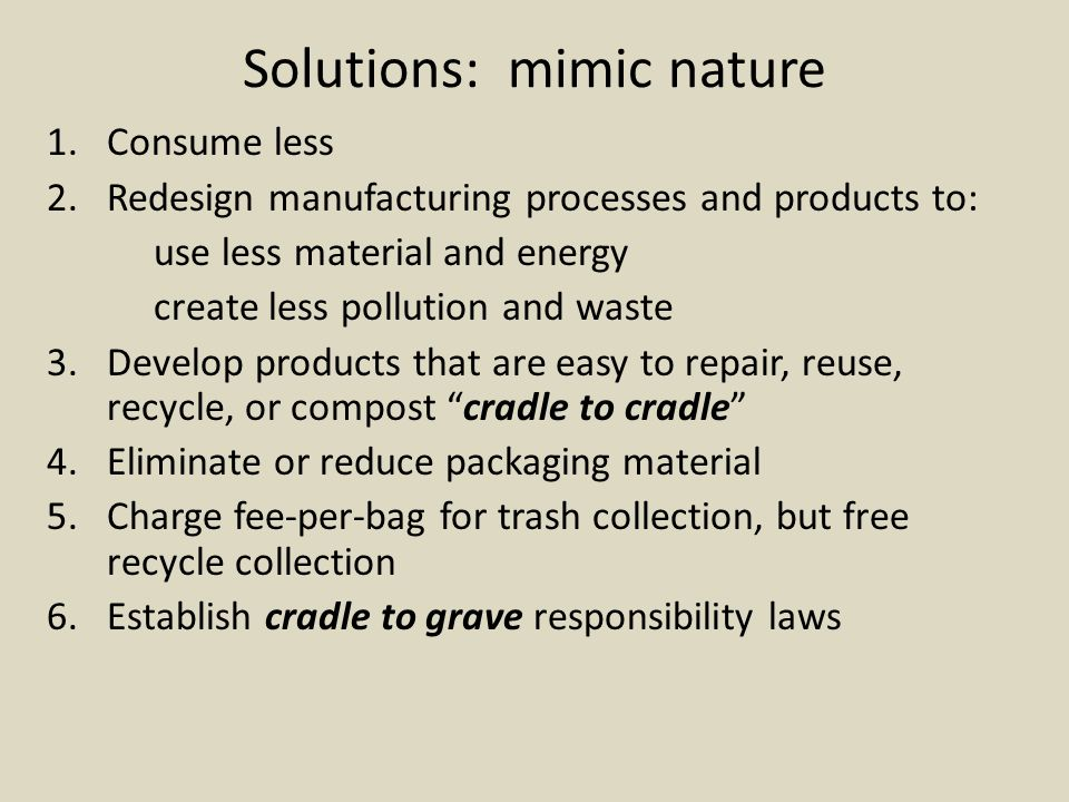 Solutions: mimic nature