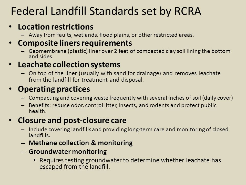 Federal Landfill Standards set by RCRA