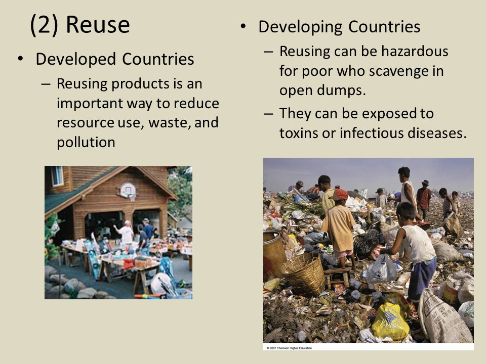 (2) Reuse Developing Countries Developed Countries